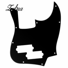 Zebra Black Top 3 Ply Bass Guitar Pickguard with PB Pickup Hole For Musical Stringed Instruments Parts Accessories(China)
