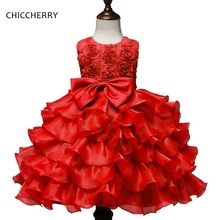 Red 3D Rose Flowers Girl Dress for Wedding Elegant Lace Graduation Ball Gown for Children Robe Princesse Fille Kids Costumes(China)