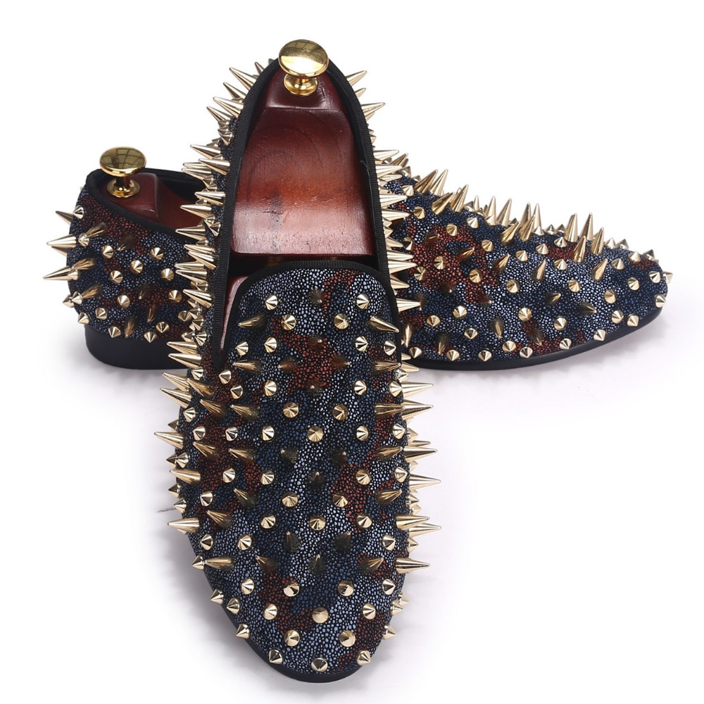 Camouflage Men Leather Shoes Handmade Rivet Shoes Slip On Flats Spikes Loafers Size 7-14<br><br>Aliexpress