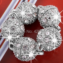 50pcs/Lot Silver Tone Round Ball Rhinestone Magnetic Clasp 10mm CHIC(China)