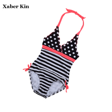 One Piece Girls Swimwear New 2017 Black Striped Children Girls Swimsuit Bathing Suits Girls Summer Beachwear K344-CGR1