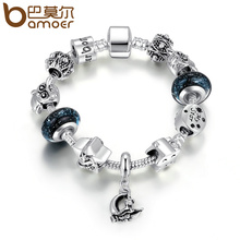 BAMOER Hot Sale Silver Color High Quality Black Murano Beads Star Moon Magnet Clasp Charm Bracelet Fashion Jewelry Gift PA1912(China)