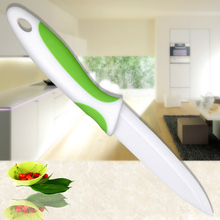 Ceramic Blade Kitchen Knife XYJ Brand 4 Inch Utility Knife Green Non-Slip Handle White Blade Sharp Kitchenware Cooking Tools(China)