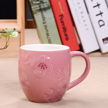 Pink Emboss Peach Blossom Ceramic Coffee Cup 355ml Porcelain Milk Tea Mug Couple Mug Novelty Gift(China)