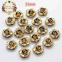 50pcs 13mm cute gold resin rose flower flatback cabochon diy decorative craft scrapbooking(China)