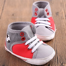 New Cute Canvas Newborn Baby Boys Kids First Walkers Football Pattern Shoes Infant Toddler Handsome High Top Sports Sneakers(China)