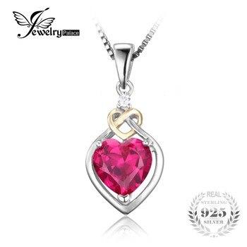 JewelryPalace Любовь Узел Сердце 2.5ct Создания Красный Рубиновый Юбилей Кулон 925 Стерлингового Серебра 18 К Желтое Золото Без Цепи