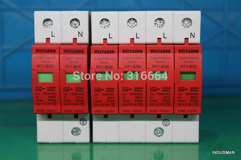 WY1-B/80    SPD 3P+N   40KA~80KA  ~385VAC House Surge Protector Protection Protective Low-voltage Arrester Device<br><br>Aliexpress