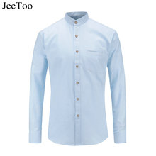 JeeToo New 2017 Mandarin Collar Mens Shirt Long Sleeve Slim Fit White Male Shirt Oxford Mens Casual Shirt Oxford Chemise Homme(China)