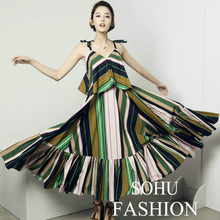 Striped Dress 2016 Summer Fashion Spaghetti Strap Multicolor Patchwork Big Swing Star Luxury Novelty V-Neck New Topshop Dress