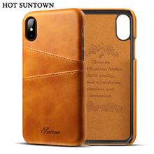 For Apple iPhone X Case Luxury Brand Leather With Card Cases Mobile Phone Shell Coque For iPhone X Fitted Cases(China)