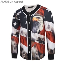 ALMOSUN USA Flag Eagle Full Jersey All Over Print Baseball T-Shirt Winter Long Sleeve Street Wear Hipster Hip Hop Men(China)