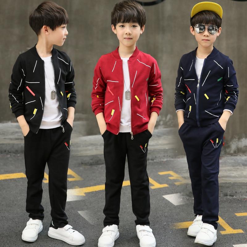 2Pcs 5T-14T Childrens Clothing Sets Coat+Pants Casual Zipper Cotton Boy Clothes Sets Sportswear Autumn For Boy Kids Clothes V20<br>