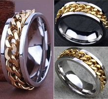 30pcs Quality Comfort-fit Men's Gold CHAIN Stainless steel SPINNRING Rings Wholesale Fashion Jewelry Job Lots(China)