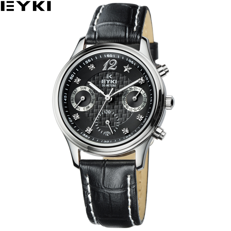 EYKI Luxury Brand Quartz-watch Women 30M Waterproof Relojes Mujer 2017 Fashion 5 Color Leather Band Women Wristwatches 8666<br><br>Aliexpress