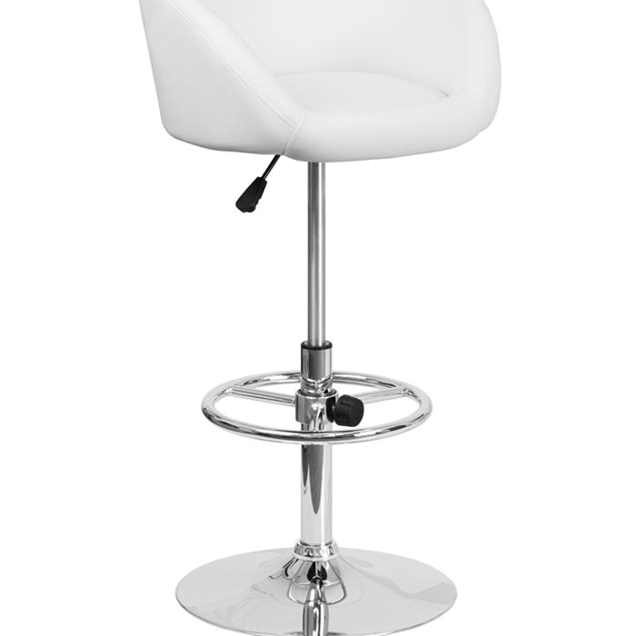 Flash Furniture Contemporary White Vinyl Upholstery Adjustable Height Barstool with Chrome Base
