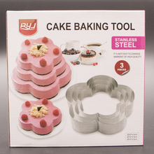 Hot Sale Plum Flowers Stainless Steel Circle Mousse Ring Baking cakeTool 3Pcs/Set 3 Layer Cake Mould Bakeware Mold A112