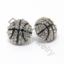 Zinc Alloy Metal Rhinestone Crystal tiny Basketball Earring Stud Sports Jewelry 2 Colors World Cup New Club Fans Gift(China)