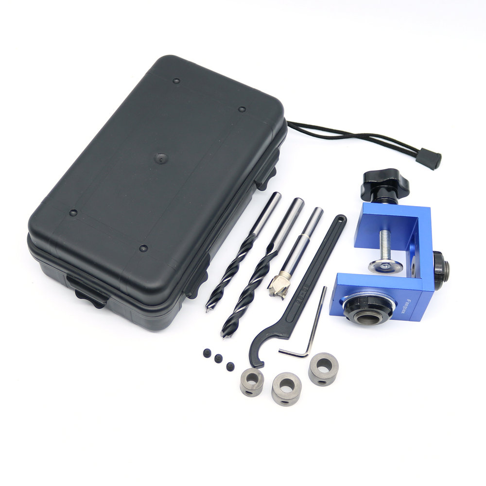 New Woodworking Pocket Hole Locate Punch Jig Kit + Step Drilling Bit Wood Tools Set Free Shipping<br>