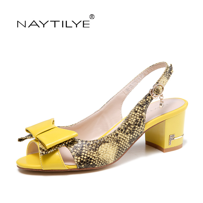 Heels pumps for summer 2017 High quality women's shoes Yellow color Size 36-41 Free shipping NAYTILYE(China (Mainland))