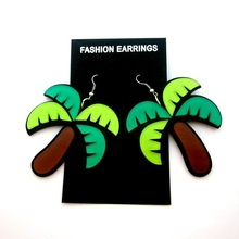 2 pair /lot fashion jewelry accessories acrylic coconut palm tree earrings for women 2015