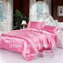 pink luxurious Smooth Shiny imitated silk satin fabric bed linen girls bedding comforter queen/full quilt duvet covers sheet set