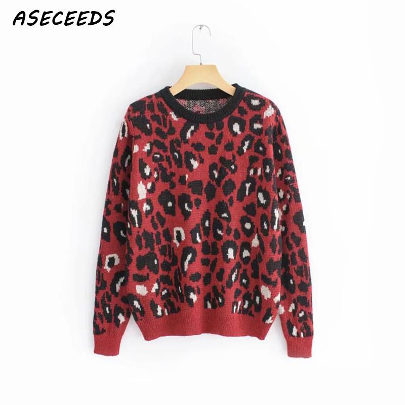 Leopard sweater women pullover sueter mujer harajuku korean clothes autumn womens clothing roupas feminina o-neck casual coat