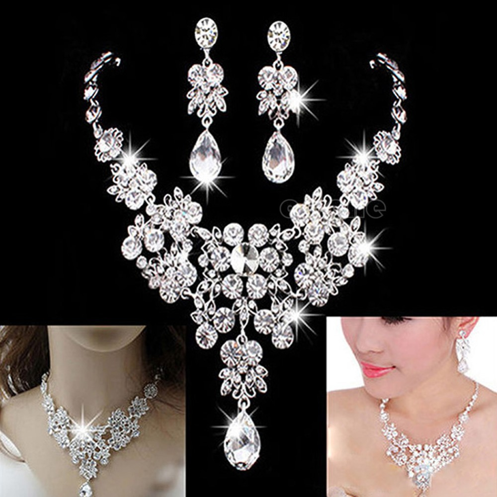 Wedding Bridal Formal Party Prom Jewelry Crystal Rhinestone Necklace Earring Set title=