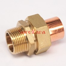 "3/4"" BSP x 22mm Brass Male Thread Socket Union to Copper End Feed Pipe Fitting for water gas oil"