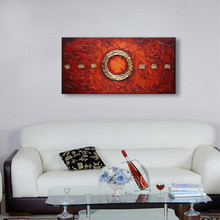 Handpainted Knife Acrylic Red Paintings Huge Modern Home Decor Wall Art Picture Abstract Geometric Oil Painting Canvas Wallpaper