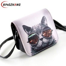 Bolsa Bolsos Carteras Women PU Leather Cat Wearing Big Glasses Print Shoulder Handbags 2017 Small Messenger Bag L4-1186(China)