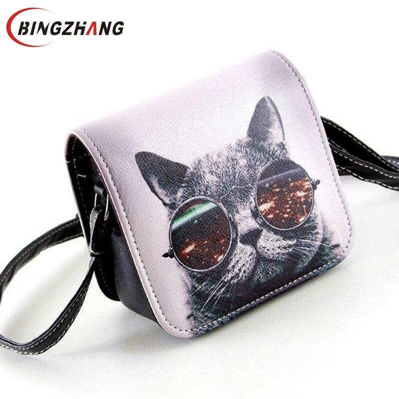 Bolsa Bolsos Carteras Mujer Marca Women PU Leather Cat Wearing Big Glasses Print Shoulder Handbags 2016 Bag L4-1186<br><br>Aliexpress