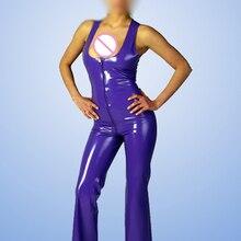 51748fdd81 LarpGears Purple Sleeveless Latex Catsuit With Front Zipper Rubber Body  Suit Bodysuit