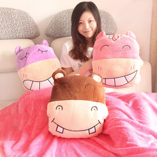 Candice guo plush toy happy hippo soft coral velvet car air baby blanket warm cushion pillow creative hand stuffed birthday gift