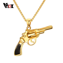 Vnox Pistol Gun Necklaces & Pendants	Gold-color Stainless Steel Men Jewelry Punk Cool Jewelry 24inch Chain