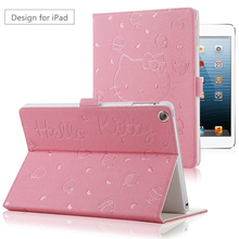 For iPad MiNi KT Cover Stand PU Leather For Apple ipad MiNi 1/2/3 Case Tablet Cover New Cute Cartoon 3D Button Hello Kitty Case(China)