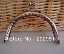 10pcs/lot  DIY 8cm Silver Emboss Metal Purse Frame Handle for Bag Sewing Craft  wholesale free shipping