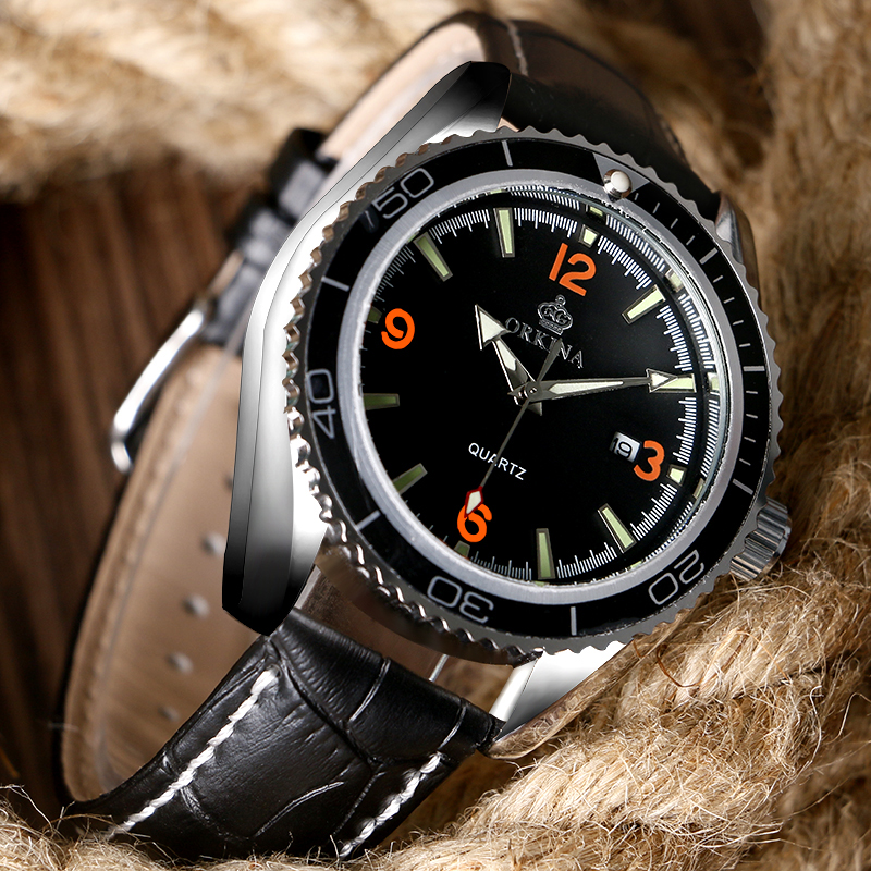 Orange Numbers Dial Black Hollow Leather Band Design Men Quartz Wrist Watch Date Day Sport Military Dress Watches Hot<br><br>Aliexpress
