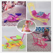 Girl birthday gift 5 items stroller Double Pram Baby bike motorcycle scooter accessories for barbie Kelly doll(China)