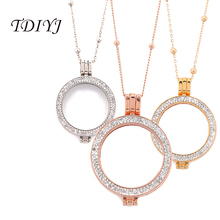 TDIYJ New Mixed My Coin 33MM Double Cz Crystal Coin Holder Frame Pendent Ball Chain Necklace for 33MM Coin Disc for Women 1Set