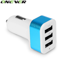 Onever Universal 3 Port USB Car Charger DC 12-24V 5V 1A/2A/2.1A Vehicle Charger for iPhone 6 6S plus iPad Samsung Tablet