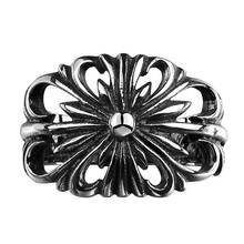 Jenia Brand Classic Flower Pattern Rings Vintage Titanium Stell Biker Knuckle Ring Women&Men Championship Jewelry CYR127(China)