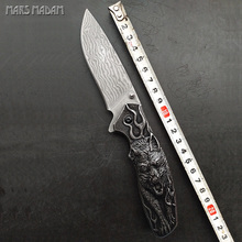 MARS MADAM Wolf totem Perfect Damascus Folding Knife Tactical Survival Knives Hunting Pocket Knife Marked Nostalgia