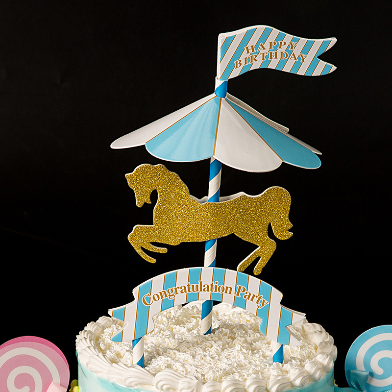 1set Merry Go Round Carousel Cake Flags Children Birthday Baby Boy Girl Party Decoration