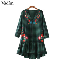 Vadim V neck ruffled floral embroidery plaid dresses flower pattern vintage chic casual loose mini vestidos mujer QZ3232(China)