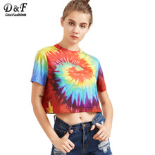 Dotfashion Tie Dye Print T-shirt Women Multicolor Casual Short Sleeve Summer Crop Tops 2017 Fashion Vintage Cute T-shirt C3403(China)