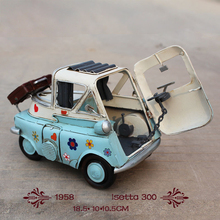1958 year Isetta 300 old car mini blue Diecast car Door open Handmade metal crafts for home decoration gift  1:12 car model toy