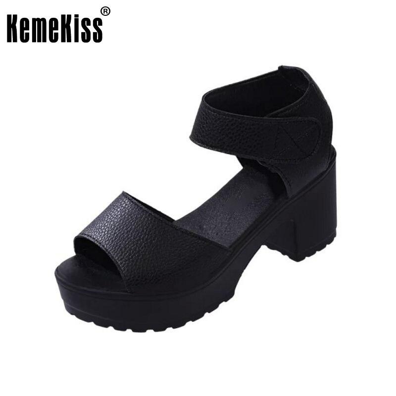 Women Summer shoes white Black fashion platform soft PU sandals womens high-heeled shoes thick heel sandals size 35-39 WC0091<br><br>Aliexpress