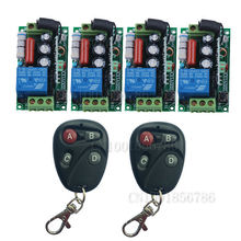 220V Wireless Remote Control Switch System RF 4 Receivers+2Transmitter Through Wall Remote Control For LED Light Lamp(China)