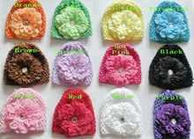soft waffle caps crochet hats hair flower clips beanie with Gerbera lily peony flower girl stretchy caps MZ9111(China)